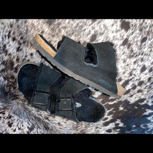 Arizona Shearling Suede Birkenstock Black Fur